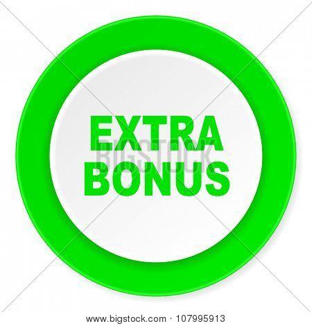 extra bonus green fresh circle 3d modern flat design icon on white background