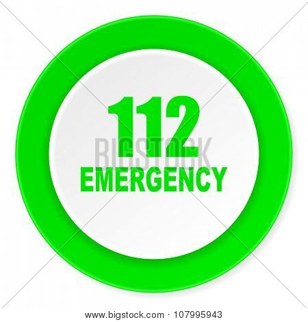 number emergency 112 green fresh circle 3d modern flat design icon on white background