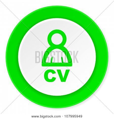 cv green fresh circle 3d modern flat design icon on white background