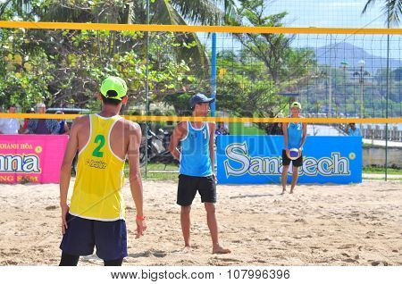 Nha Trang, Vietnam - July 12, 2015: Players Are Playing In A Match In The Women Beach Volleyball Tou