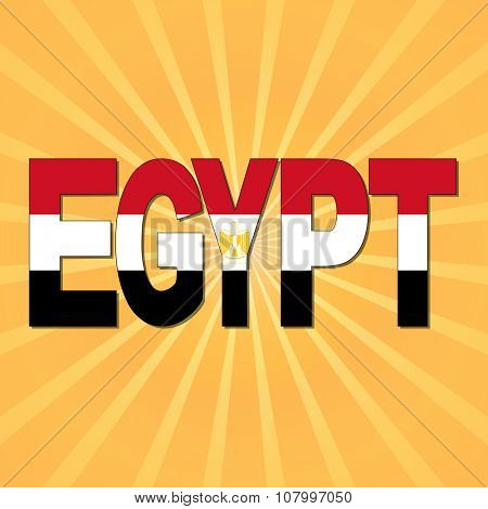 Egypt flag text with sunburst illustration