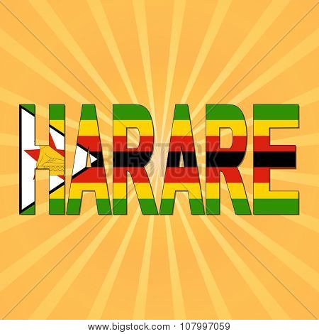 Harare flag text with sunburst illustration