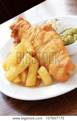 traditional battered fish and chips dinner