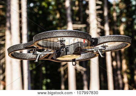 Drone Flying In The Woods