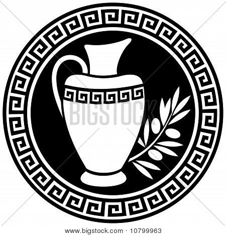 Ancient Greek Amphora And Olive Branch In The Frame With A Meander.