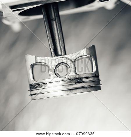 engine piston, closeup view