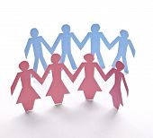 stock photo of crew cut  - close up of people cut out of paper on white background - JPG