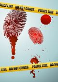 stock photo of crime scene  - crime scene illustration with bloody fingerprints police lines and blood stains - JPG