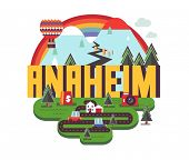 Anaheim city travel destination in USA. vector cartoon, poster