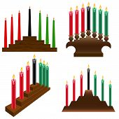 stock photo of unity candle  - a set of four different Kwanzaa kinara - JPG