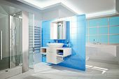 picture of shower-cubicle  - 3D Illustration of the modern bathroom interior - JPG
