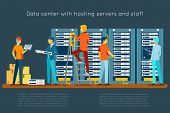 Data center with hosting servers and staff poster