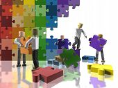 picture of team building  - A team collaborating to build a LGBT flag promoting teamwork - JPG