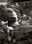 Fallen Architectural Detail Of Woman In Relief
