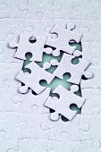stock photo of reunited  - a close up shot of jigsaw puzzle - JPG