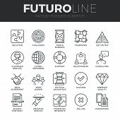 Business Elements Futuro Line Icons Set poster