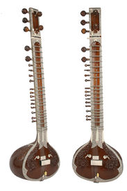pic of shankar  - sitar a string instrument from india 2 angles separated on a white background - JPG