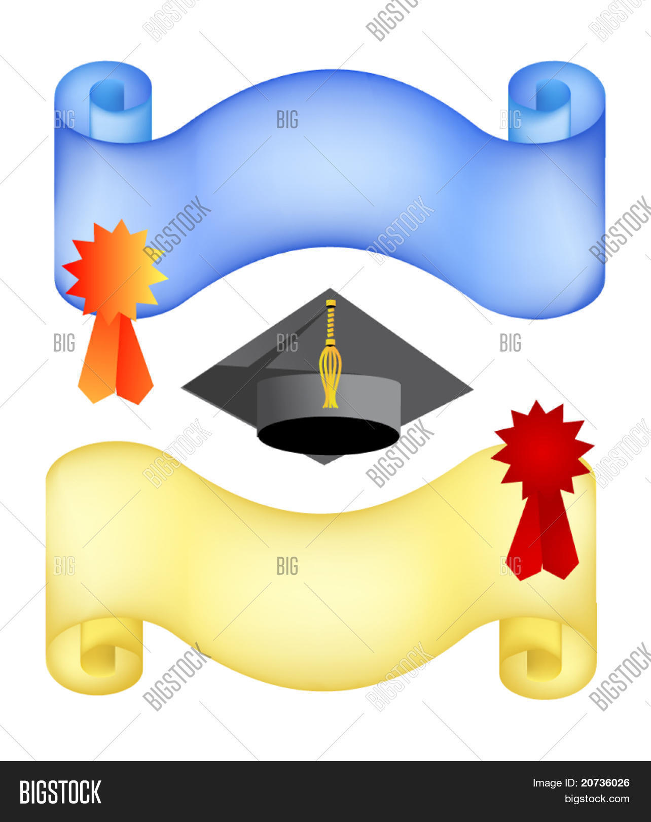 Graduation Background With Paper And Hat. Vector Stock ...