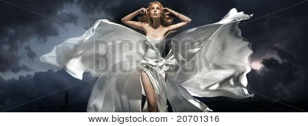 Woman wearing white dress