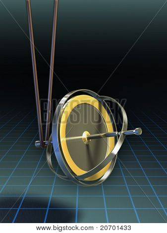 Gyroscope stands in equilibrium suspended by a string. Digital illustration, clipping path included to isolate string and gyroscope from background.