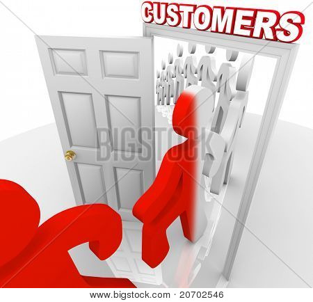 A line of people step through a doorway marked Customers and become transformed from prospects into new buyers, illustrating a successful marketing to selling process and campaign