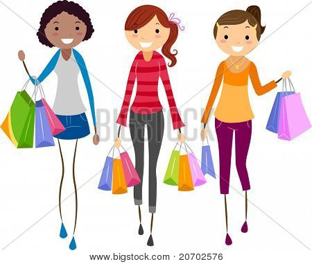 Illustration of Girls Shopping Together