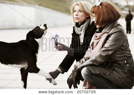 Women and a dog