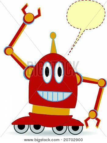 Cartoon Red Robot Waving blank chat bubble