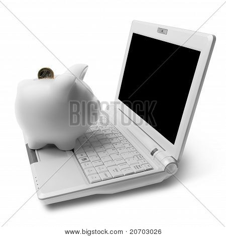 Piggy bank with computer