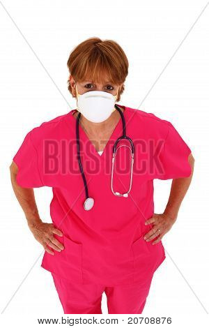Nurse With Mask Looking Up