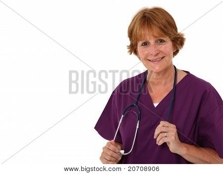 Nurse Holding Stethoscope In Hands