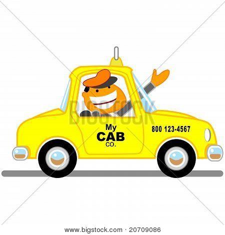 Cab driver waving