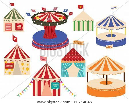 Different sets of circus big top.