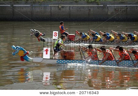 Dragon Boat Races On The Love River In Taiwan