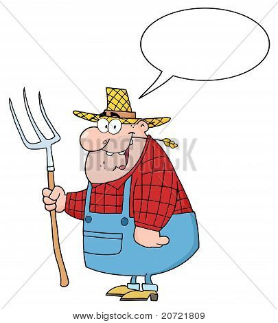 Happy Farmer Man Carrying A Rake