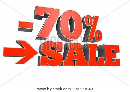 70% SALE discount text