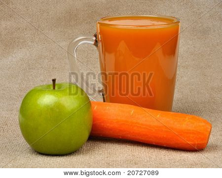 Apple Carrot And A Glass Of Juice
