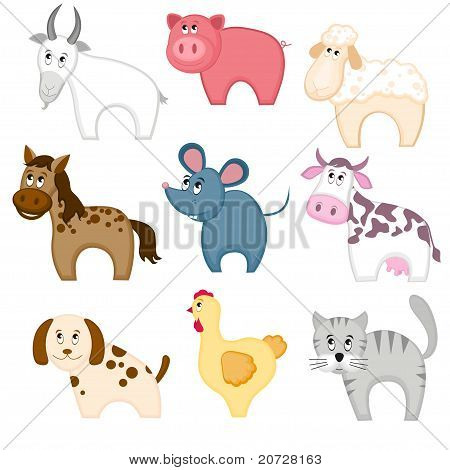 Set of funny cartoon pets animals