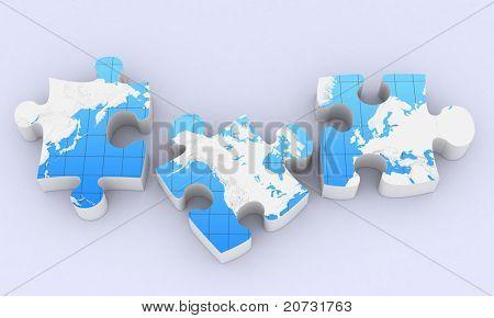 rompecabezas de mapa global de comunicación