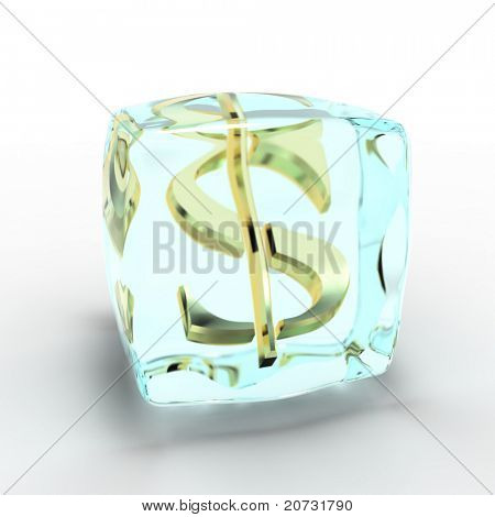 frozen money symbol on white