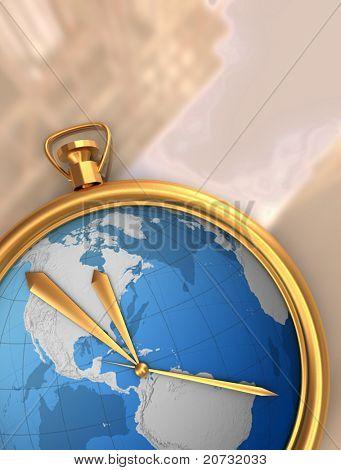 globe clock on map