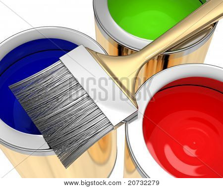 paint bank with brush