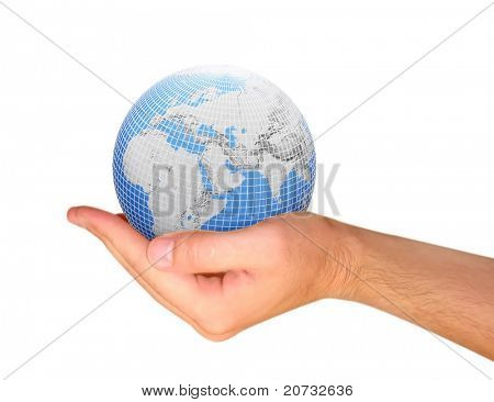 globe in the hand isolated on white