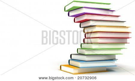 colored books massive isolated on white