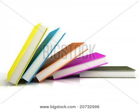 libros colores aislados en blanco brillante