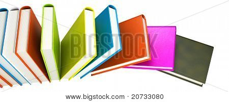 colored books isolated on glossy white #6