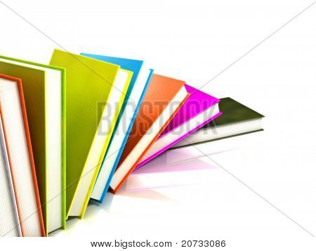 colored Books isolated on glossy White # 4