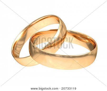 wedding gold rings isolated on white
