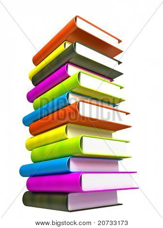 colored books massive isolated on white #8