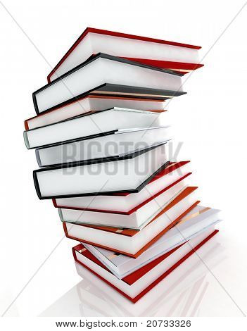 books on glossy white